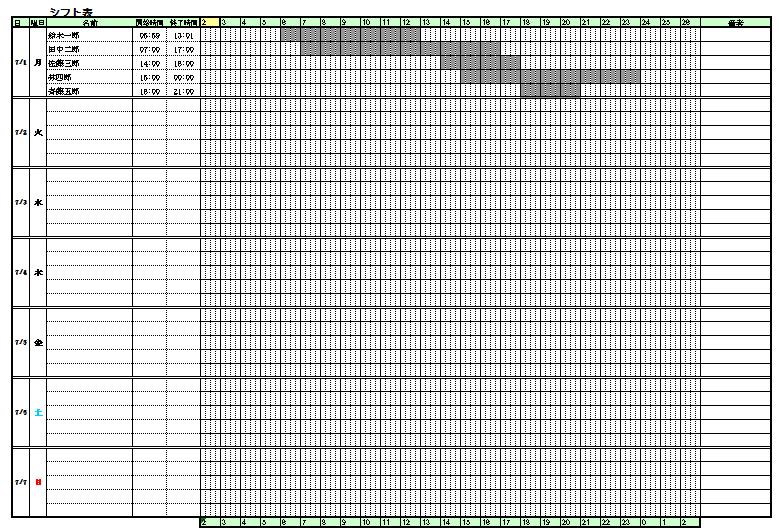 テンプレート シフト表